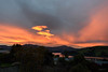 Sea Turned Red (Jocey K) Tags: newzealand nikond750 southisland akaora bankspeninsular landscape akaoraharbour hills trees houses sunset clouds sea