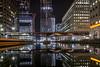 Big city lights (cliveg004) Tags: canarywharf london isleofdogs reflection lights buildings architecture docks water night nikon d5200 heron quay