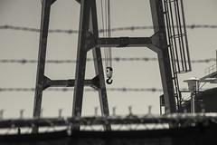 Idle (PAJ880) Tags: heavy lift equipment hook beams edison power plant south boston ma industrial mono bw