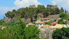 houses on the hill below the Castle of Kyparissia IMG_8047 (mygreecetravelblog) Tags: greece peloponnese messenia messinia kyparissia town outdoor landscape hillside hill castle kyparissiacastle fortress archaeologicalsite historicsite ruins castleruins castleofarcadia ancientgreece ancientgreekruins architecture buildings houses trees walls stonewalls