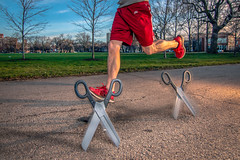 Running with Scissors 110/365 (stevemolder) Tags: scissors 365 april tokina wide angle sharp running shoes red jog westcott strobist speedlite