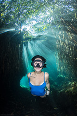 Freediver in Cenote Cristalino (NickPolanszkyPhotography) Tags: freediver freediving underwater photography nick polanszky canon 5diii aquatica cenote mexico tulum cristalino
