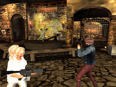 Romantic date turned into a gun fight (Rienda From Second LIfe) Tags: secondlife couple gun funny