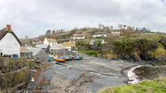 Cadgwith Cove (doublejeopardy) Tags: working harbour cornwall beach fishing winter badweather cove cadgwith hightide inshore boat panorama weather marine sea ruanminor england unitedkingdom gb