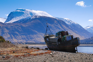 The wreck of the MV Dayspring on the banks of Loch Linnhe, Corpach. Scottish Highlands.