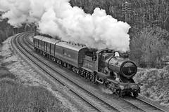 City of Truro on the Mail Train (photofitzp) Tags: 3440 3717 blackandwhite cityoftruro gcr gwr kinchleylane railways smoke steam tpo