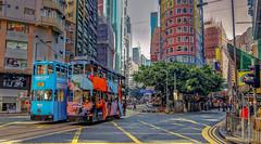 Wan Chai, Hong Kong (cantdoworse) Tags: hong kong wan chai trams city high rise canon 6d street road transport