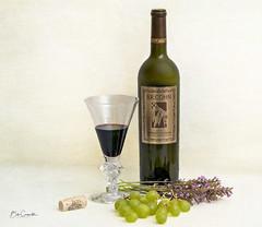 Relax and enjoy (Bob C Images) Tags: wine bottle glass grapes lavender stilllife sony a7rii cork arrangement
