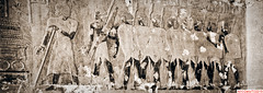 Funerary mural (DelioTO) Tags: 6x17 1995 antiquities architecture blackwhite cemetery desert egypt f267 historical holiday panoramic pinhole toned trip winter