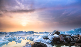 5.Willow Beach -  Sunset over a sea of Ice