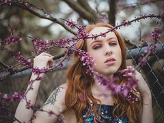 Beautiful struggle (Vincent F Tsai) Tags: portrait fashion art spring flowers model alt alternative girl outdoor nature edgy urban beauty beautiful fence tree bloom blossom bokeh dof redhead leicadgnocticron425mmf12 panasonic lumixgx8