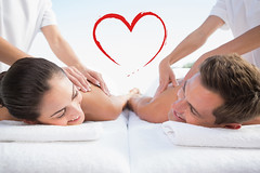 Composite image of peaceful couple enjoying couples massage pool (niceholidayphotos) Tags: 20s youngadult woman female mixedrace 30s midadult man male caucasian partof therapy alternativetherapy treatment specialist care lying relaxation wellness shirtless handsome pretty attractive healthspa bodycare leisure lifestyle calm peaceful relaxing content healthfarm spa sunny bright poolside serenity tranquil vacation retreat healthylifestyle massagetable pampering spatreatment towel couplesmassage couple relationship together masseuse smile smiling luxury love heart romance romantic valentinesday valentine