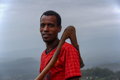 Farmer and Hoe (Rod Waddington) Tags: africa african afrique afrika äthiopien ethiopia ethiopian ethnic etiopia ethnicity ethiopie etiopian wollaita wolayta wollayta tribe traditional tribal culture cultural hoe farmer farming farm rural landscape red shirt wooden handle outdoor