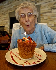 93 Years Old Today (ricko) Tags: mother birthday 93 dessert candle plate restaurant bishopspost chesterfield missouri blowing 2018 82365