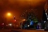 low clouds (k0syak) Tags: sonya6000 sonyilce6000 sigma30mmf14dcdncontemporary haifa israel lowlight sky clouds fog mist tree streetlights building road pavement shop storefront night dark decoration umbrella sign neon urban