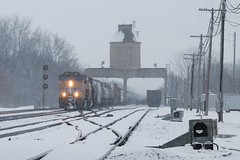 February Flurries on the CNW (Jake Branson) Tags: train railroad locomotive up union pacific cnw nelson il illinois searchlight signal coaling tower geneva snow winter