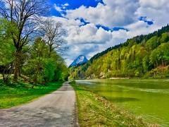 River inn with Pendling mountain, Tyrol, Austria (UweBKK (α 77 on )) Tags: river inn pendling mountain water flow trees forest alps green kufstein kiefersfelden austria österreich tyrol tirol europe europa iphone