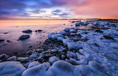 Frozen Again (tinamar789) Tags: ice icy winter sea seashore seascape sunset snow seaside rocks reflection blue hour horizon clouds colorful frost frozen lauttasaari helsinki finland tinamar