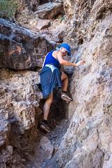 Sherry navigating the climb.
