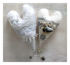 carolyn saxby - winter hearts (Carolyn Saxby) Tags: carolynsaxby winter textileart textiles stitched hearts cotton linen silk beachcombing shells motherofpearl handstitches frenchknots snow white lace ribbon snowflakes cottage stives crochet