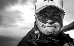 Fisherman's look (sgt.pepper86) Tags: 2018 chile patagonia sigma1750mm sur viaje portrait hat bw black white nikon d500 sigma 1750mm south face sadness sea cloud