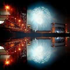 Cleveland Fourth of July 2016 (michaelwalker19) Tags: fireworks downtowncleveland cleveland fourthofjuly clevelandbridges bridges atnight citiesatnight waterfront reflections mirroredimage