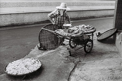 Making a Living (D. R. Hill Photography) Tags: bangkok thailand thai asia southeastasia street streetphotography seller fish food vendor blackandwhite monochrome contax contaxg1 g1 carlzeissplanar35mmf2 planar 35mm 135 35mmfilm kentmere400 ilford