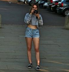 Hot Photographer (Waterford_Man) Tags: hot girl shorts jeans bare midriff midrift london camera photographer