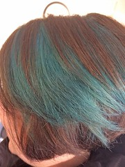 Blue/Green Hair flashes (isisjem22) Tags: hair march 2018 flashes crazycolour capriblue peacockblue