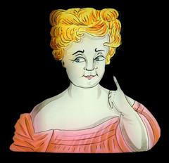 Glasbild für die Laterna Magica zum Verstellen mit Dame 1 (altpapiersammler) Tags: alt vintage glas glass optik blond dame lady laternamagica licht light spas fun augen eys old blick