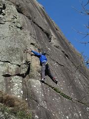 keeping in balance (squeezemonkey) Tags: northwales snowdonia winter castlestafftrip tremadog tradclimbing climbing outdoors doleriterock craigpantifan uppertier crag climber