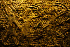 The Pharaoh's Golden Archers (Steve Taylor (Photography)) Tags: pharaoh archer gold men uk gb england greatbritain unitedkingdom london texture britishmuseum clay egyptian palm battle relief bowandarrow quiver