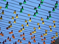 green, yellow, orange (kenjet) Tags: color colorful bulb bulbs outdoor light lights lighting stand string green yellow orange