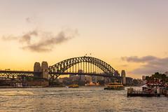 Harbour Bridge Sunset (Scottmh) Tags: 2018 sydney australia autumn bridge circular clouds d7100 ferry flags harbour luna new nikon park quay south sunset wales