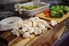 Tasty Mushrooms (Kurayba) Tags: food mushrooms mushroom carrot carrots broccoli brusselsprouts pentax k1 da 40 f28 xs smcpentaxda40mmf28xs cutting board wood bokeh kitchen prep preparation