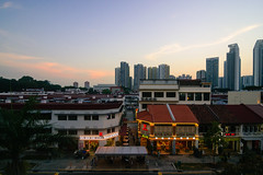 Tiong Bahru Sunset (OzGFK) Tags: asia d90 hdb linbar nikon singapore tokina1116mm clearsky dusk evening night restaurants streetphotography sunset tiongbahru urban