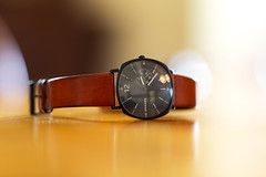 The Right Time (Keith Midson) Tags: skagen watch wristwatch rungsted leather wood table canon 135mm f20 samyang