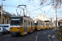 BKV Zrt 4287 - 4323 - 4152 (Will Swain) Tags: orczy tér baross kocsiszín budapest 8th january 2018 tram trams light rail railway rails transport travel europe hungary east eastern county country central capital city centre bkv zrt 4287 4323 4152