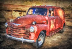 Chevy Truck Moab Utah, a digital photo painting (PhotosToArtByMike) Tags: chevytruck moab truck digitalpainting photopainting moabutah utah ut chevy thriftmaster paneltruck rusty mainstreet easternutah archesnationalpark canyonlandsnationalpark grandcounty