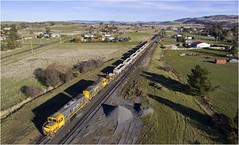 2006 + 2002 at Ross (Trains In Tasmania) Tags: australia tasmania ross midlands tasrail ballasttrain dq dqclass dq2006 dq2002 emd gm aerial drone dronephotography trainsintasmania stevebromley phantom3standard djiphantom3standard dji train diesellocomotive