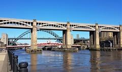 Newcastle-Upon-Tyne - Bridges Over River Tyne. (Gilli8888) Tags: newcastle newcastleupontyne tyneandwear quayside architecture bridge newcastlequayside samsung cameraphone bridges river water rivertyne highlevelbridge portoftyne