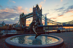 The Bridge and Statue at Sunset (ijpears) Tags: tower bridge london thames river united kingdon braitain britain kingdom uk night exposure lights water city cityscape