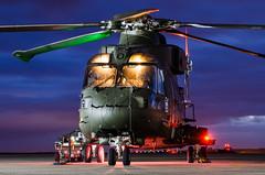 Royal Navy AW101 Merlin HC.3 (Chris Gilligan) Tags: royal navy aw101 merlin hc3 helicopter rnas yeovilton somerset wing nightshoot event avgeek nikon d7000 colours blue hour dusk lights