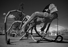 It's Escaped (ⓦeͤ █ iͥ rͬ dͩLiͥ █ G̷̃̊̏̂̓͂̅) Tags: sculpture monochrome creature monster blackandwhite bw mono demon statue art abstract iscariot loveland colorado welding metal traceoconnor