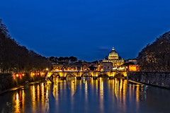 Tiber River at Blue Hour (Alan Amati) Tags: amati europe italy italia rome roma tiber tiberriver blue bluehour vatican vaticancity city stpeters saint petes peters night reflections water eternal ponte saintangelo bridge lighted travel topf25