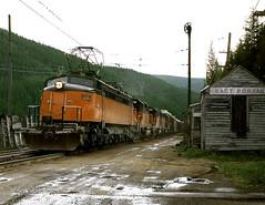 East Portal MT Saturday June 16th 1973 1350MDT (Hoopy2342) Tags: train rail railway railroad milwaukeeroad electriclocomotive montana mont bitterrootmountains juicejack