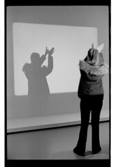 P61-2018-029 (lianefinch) Tags: argentique argentic analogique analog monochrome blackandwhite blackwhite bw noirblanc noiretblanc nb exhibition exposition museum musée moma om shadows girl fille plays joue bird oiseau paris