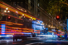 late night second street (pbo31) Tags: bayarea california nikon d810 color april spring 2018 boury pbo31 sanfrancisco city urban night dark black lightstream traffic roadway financialdistrict red infinity marketstreet bus muni motionblur