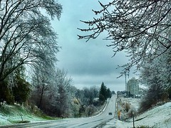 And Down We Went... (Haytham M.) Tags: canada ontario freeze ice tree drive road car street spring afternoon day gloomy clouds trees