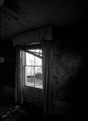 Wallpaper (house #1) (Nickademus42 (Thank you for 1 million views)) Tags: film photography podcast project 35mm black white kodak 5222 xx double x voigtlander best 15mm wide angle house kentucky abandoned empty derelict